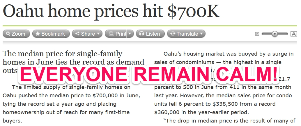 Oahu prices hit $700K